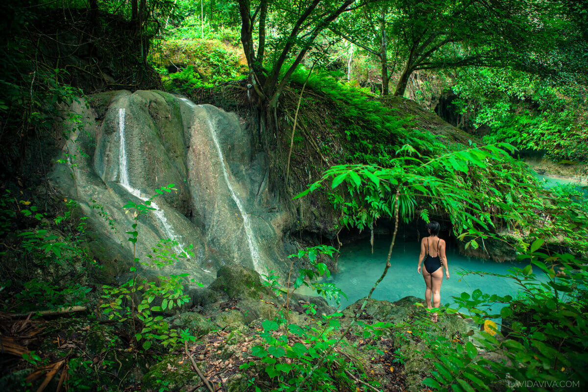 Kawasan Falls woman posing near waterfall photography Philippines