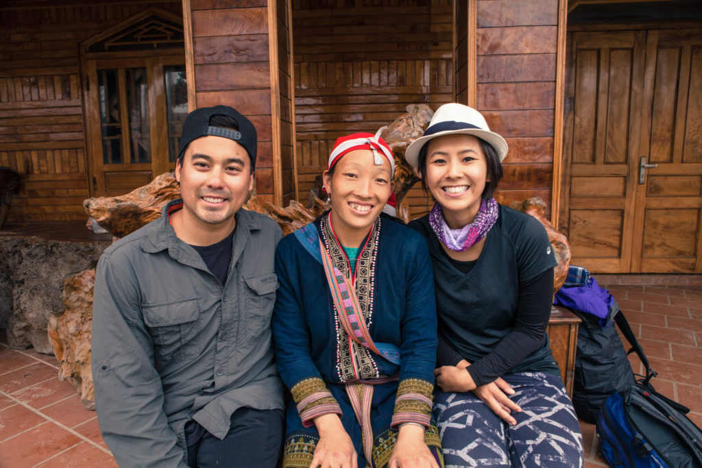 North Vietnam Tour guide Zao woman photo with travel couple