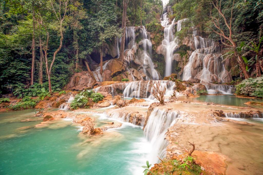 Kuang Si Falls waterfall long exposure photography