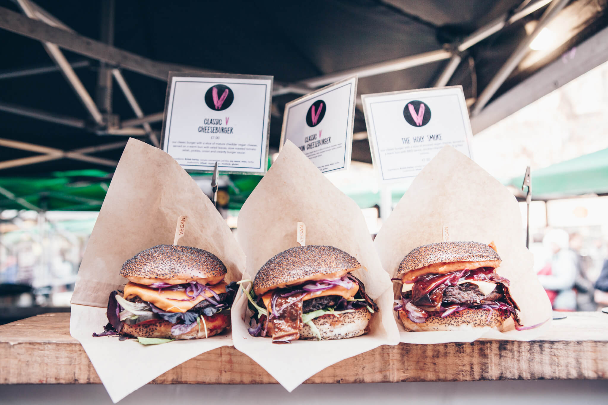 London Food market vegan burgers