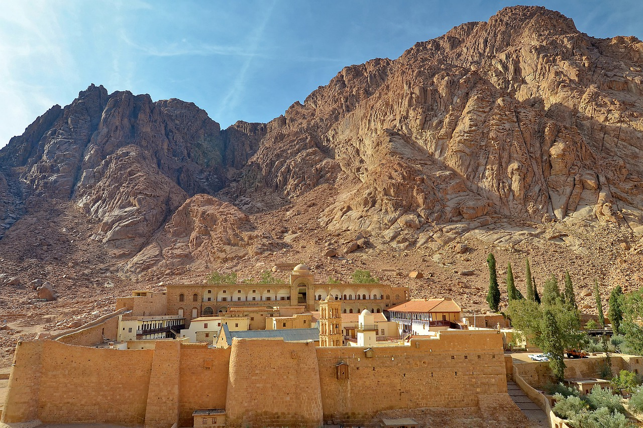 small village near the rocky mountains in Egypt