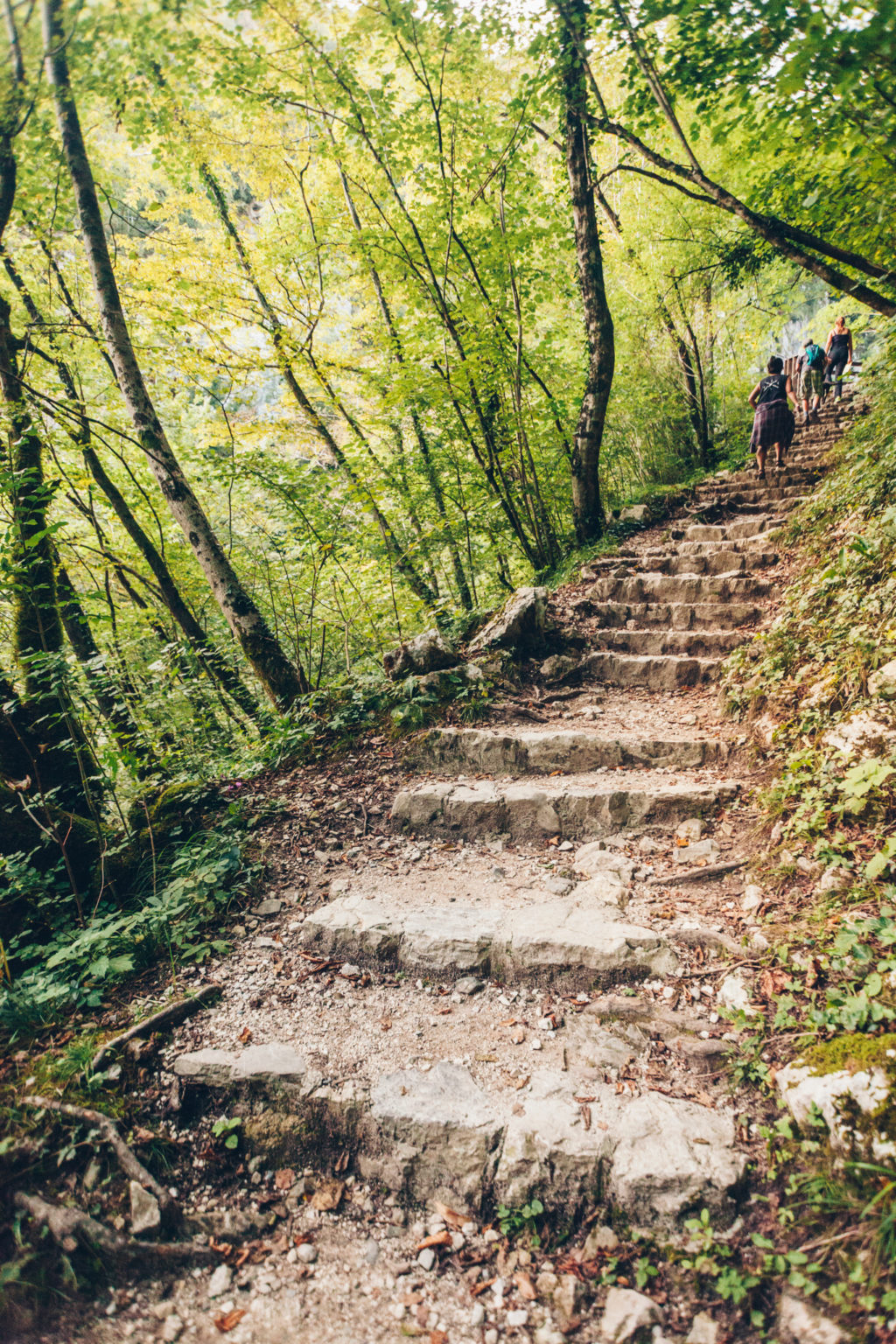 Tolmin Gorge in Slovenia hiking the stairs