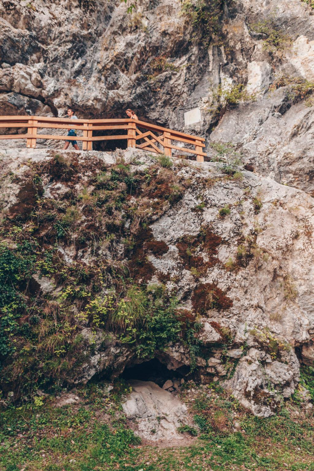 Cave entrance at Tolmin Gorge Slovenia