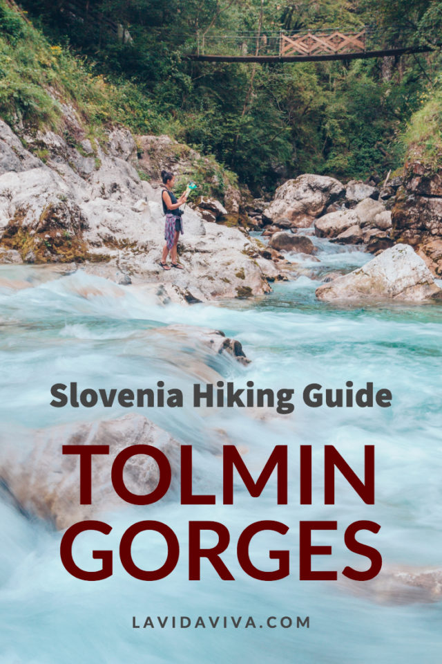 woman looking at the map for Hiking Tolmin Gorges